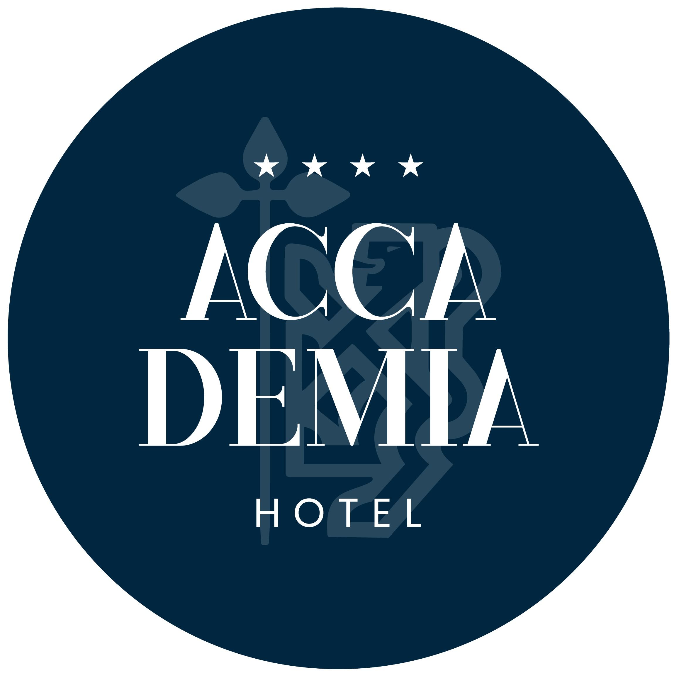 Logo rettangolare colore bianco con sfondo transparente dell'Hotel Accademia di Trento